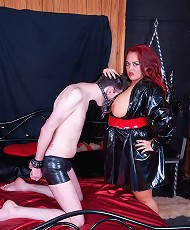 Jemstone whip cracking submissive Simon and kickin his balls