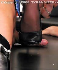 Pics of bitch boss humiliating her staff, both male and female humiliation, and torturing them with hot wax, stiletto heels and strangulation.
