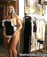 Hot Blonde Uses A Strap On Dildo