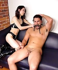 Teen Mistress whipping and riding her male slave