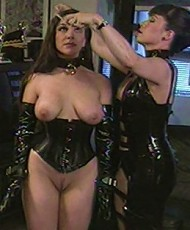Kinky latex mistress tries various bondage patterns on her sexy slave and birches her fine ass